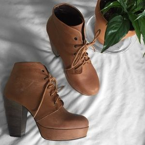 Steve Madden Tan Leather Platform Ankle Booties